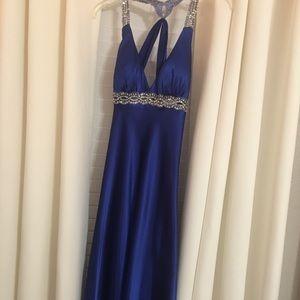 Long blue dress.